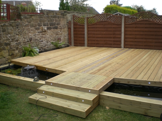 Cbs decking for Garden pond design using sleepers